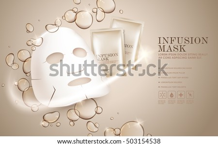 Facial mask ads template, face mask and package mockup for ads or magazine. Transparent liquid drip on background. 3D illustration.
