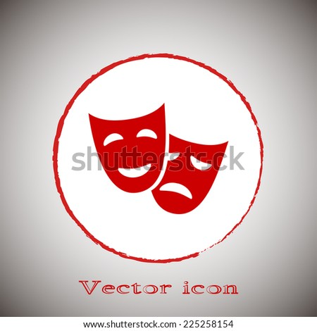facial mask symbol vector illustration Red round button on a gray background - stock vector