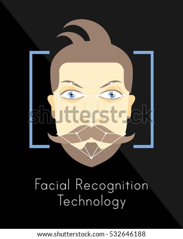 Facial Recognition Human Face Authentication Modern Technology Security Measure Vector Illustration