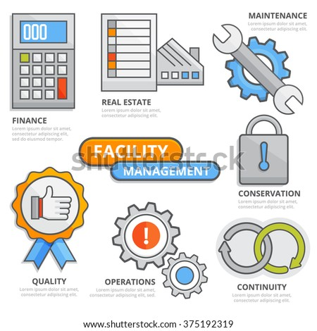 Facility Management Design Concept Finance Real Stock Vector ...