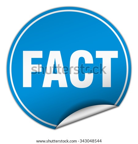 fact round blue sticker isolated on white
