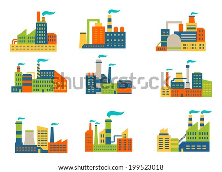 Factories and plants set in flat retro style isolated on white background - stock vector