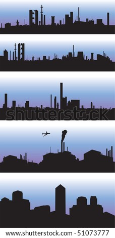 Factory and business skylines - stock vector
