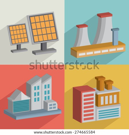 Factory and industry,flat icons design,clean vector - stock vector