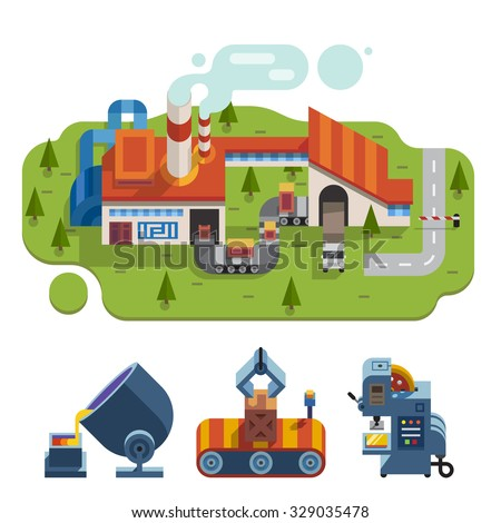 Factory and metal production: liquid metal, lathe, transporting, conveyor, plant, production,  environment, crate, milling-machine. Stock vector flat illustration set, - stock vector