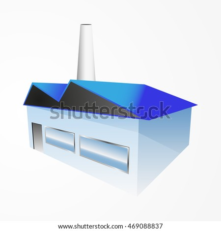 Factory building icon, isometric, vector illustration