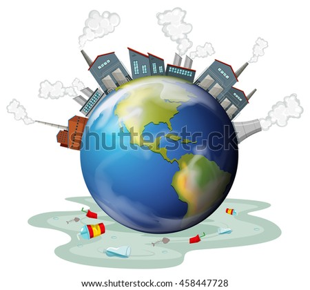 Factory buildings and polution on earth illustration