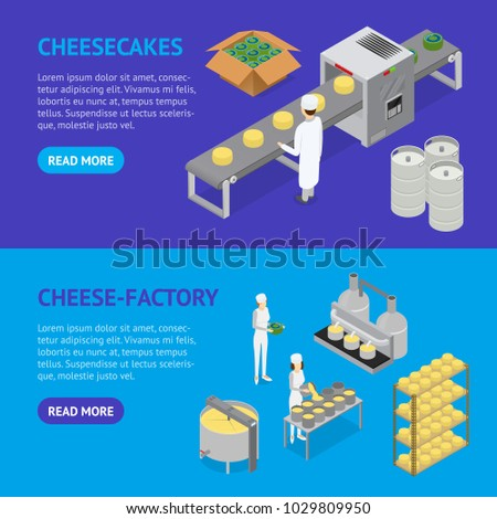 Factory Cheese Production Line Banner Horizontal Set Isometric View Technology Service Process of Cooking Dairy Product. Vector illustration of Prepare Cheese