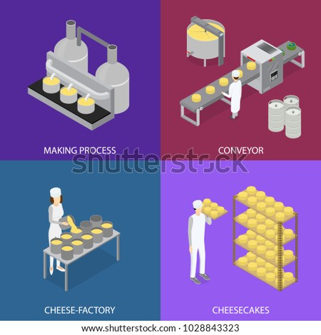 Factory Cheese Production Line Elements and Staff Banner Card Set Isometric View Technology Service Process of Cooking Dairy Product. Vector illustration of Prepare Cheese