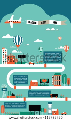 factory cityscape info graphics charts, symbols, graphic elements, map - stock vector