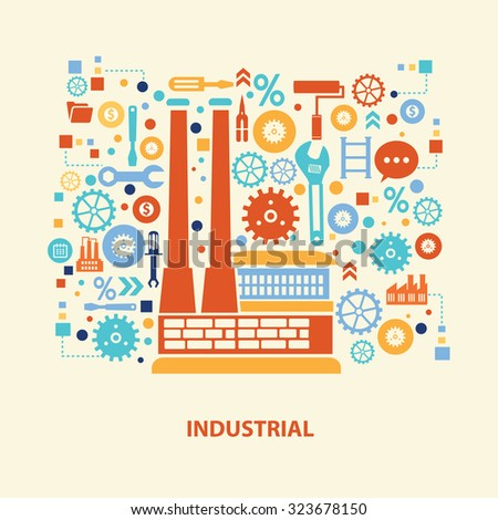 Factory concept design on old background,clean vector