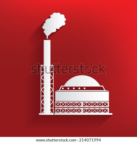 Factory design on red background,clean vector - stock vector