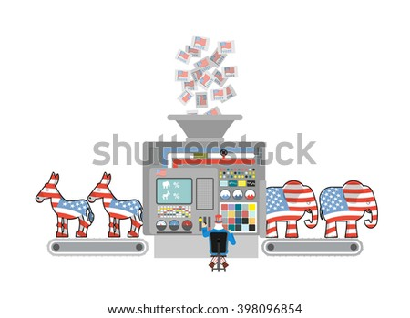 Factory elections in America. Uncle Sam says Democrats and Republicans. Voices of voters. Accounting machine. Political factory USA. Elephants and donkeys - stock vector
