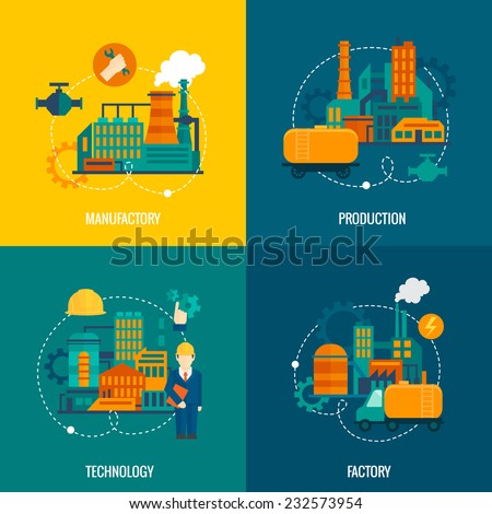 Factory flat icons set with manufactory production technology isolated vector illustration - stock vector