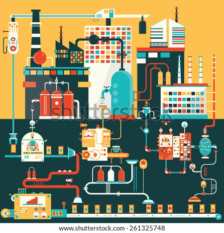 factory for manufacturing products - stock vector