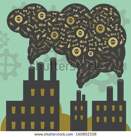 Factory gas toxic - stock vector