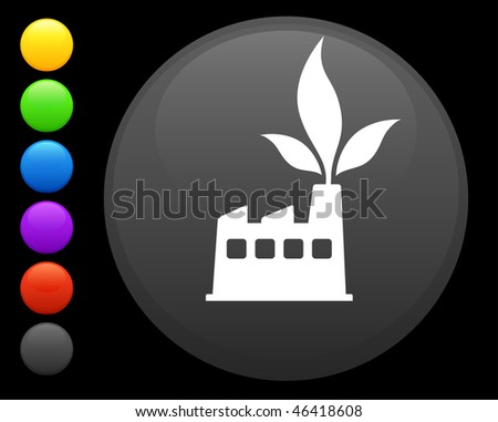 factory icon on round internet button original vector illustration 6 color versions included - stock vector