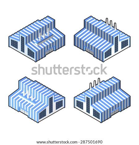 Factory icon set. - stock vector