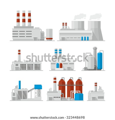 Factory Industrial Buildings Power plants vector icons  - stock vector