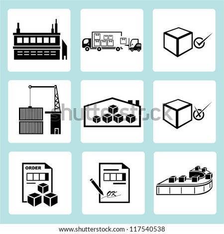 factory, industrial management, shipping icon set, production set - stock vector