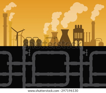 Factory industry with manufactory and underground drilling vector illustration