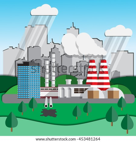Factory on a background of the city. Ecology. Vector illustration. - stock vector