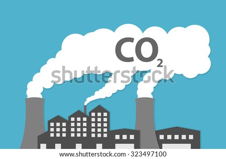 Factory or power plant emitting smoke. Smoking factory concept. Flat style - stock vector