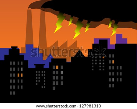 Factory pollution and city skyline, vector illustration