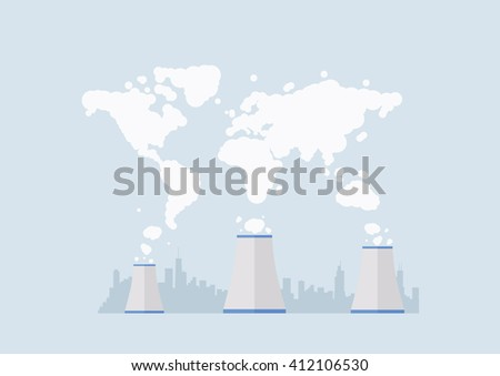 Factory Pollution World Map. Vector illustration - stock vector