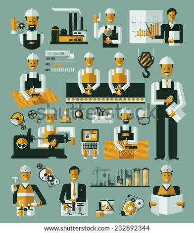 Factory production process icons set infographic vector - stock vector