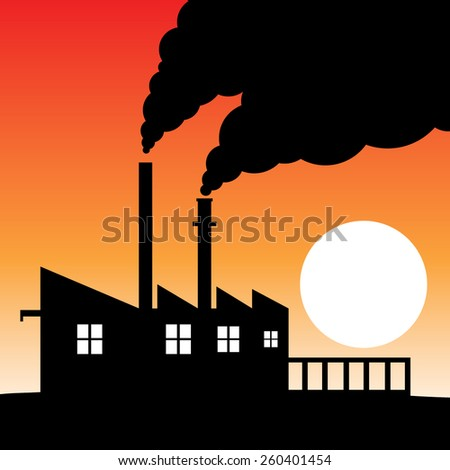 Factory silhouette air pollution - stock vector