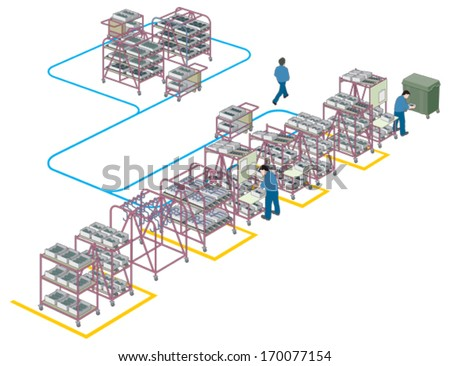Factory supply and production line 2 vector