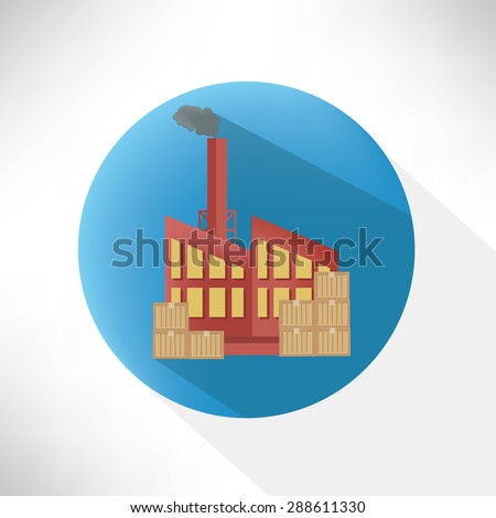 Factory symbol design,flat button,clean vector