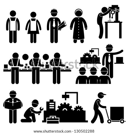Factory Worker Engineer Manager Supervisor Working Stick Figure Pictogram Icon - stock vector
