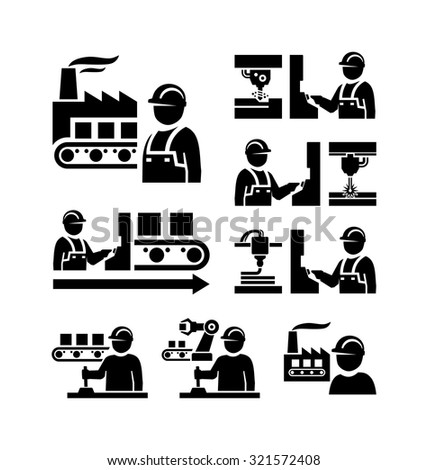 Factory worker in production plant working with machinery vector icons  - stock vector
