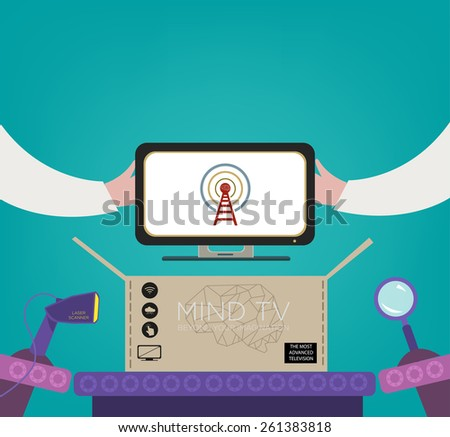Factory Worker's hands hold and test a new High End Web TV brand at a Quality Control Inspection Laboratory in a Production Line. Editable Vector EPS10 and jpg - stock vector