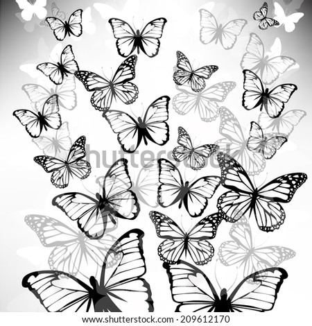 faded butterfly fly up. Vector - stock vector
