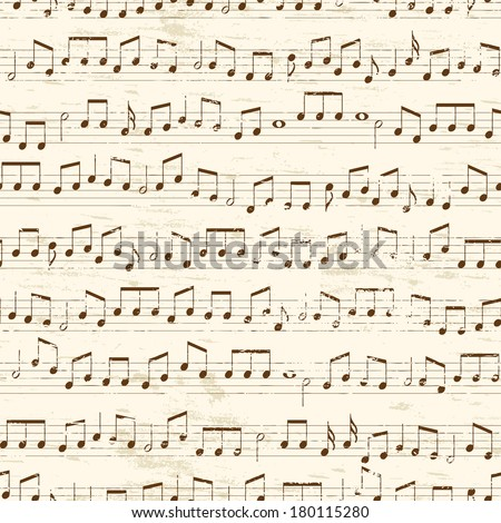 Faded old random musical notes background. Repeating tileable vector illustration  - stock vector
