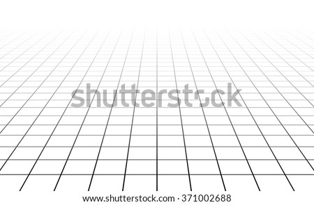 Fading and vanishing grid, mesh 3d abstract background - stock vector