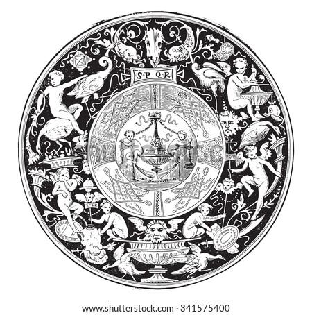 Faenza majolica, Fruits dish, vintage engraved illustration. Industrial encyclopedia E.-O. Lami - 1875. - stock vector