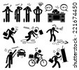 Fail Businessman Emotion Feeling Action Stick Figure Pictogram Icons - stock vector