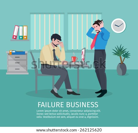 Failure business concept with frustrated people in office interior vector illustration - stock vector