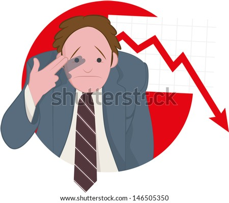 Failure in Business - A businessman mimes shooting himself in the head for the terrible performance of the market - stock vector