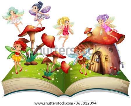 Fairies flying around the mushroom house illustration - stock vector