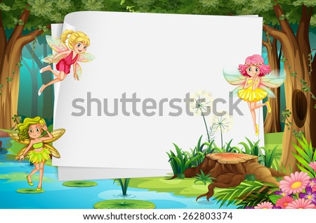 Fairies flying in the forest and a blank sign - stock vector