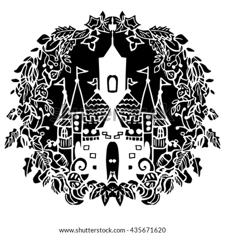 Fairy castle in hand drawn style black and white vector illustration - stock vector
