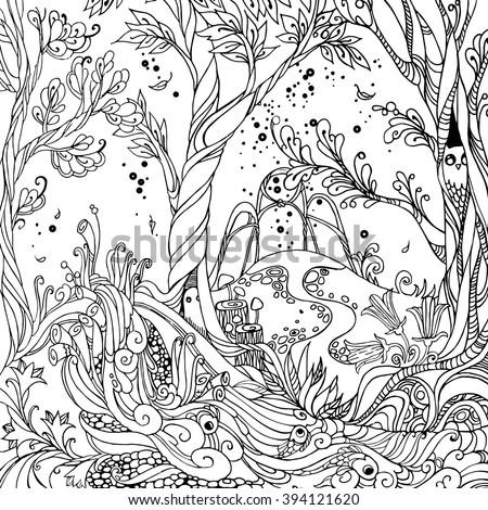 Adult coloring pages forest ~ Fabulous Tree Stock Vectors & Vector Clip Art | Shutterstock