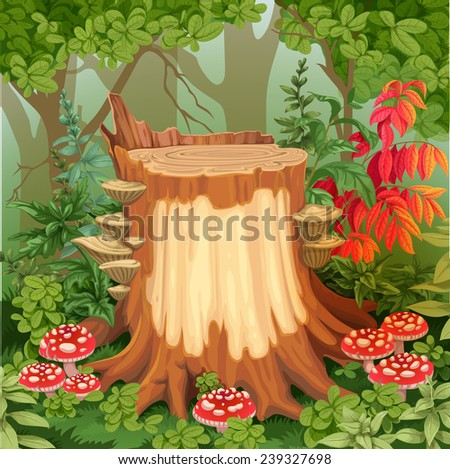 Fairy forest glade with drawing stump surrounded by toadstools - a place for your text - stock vector