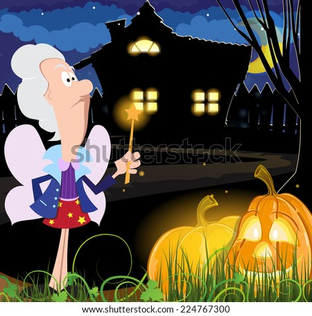 Fairy godmother with a magic wand and Jack o lanterns near the house with glowing windows. Halloween night scene  - stock vector