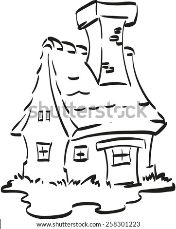 Fairy House Nice With A Huge Chimney Coloring Page For Little Children